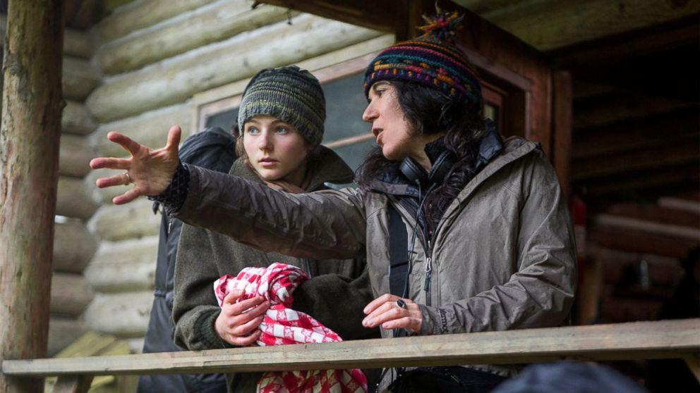 PHOTO: Thomasin Harcourt McKenzie and director Debra Granik on the set of Leave No Trace.