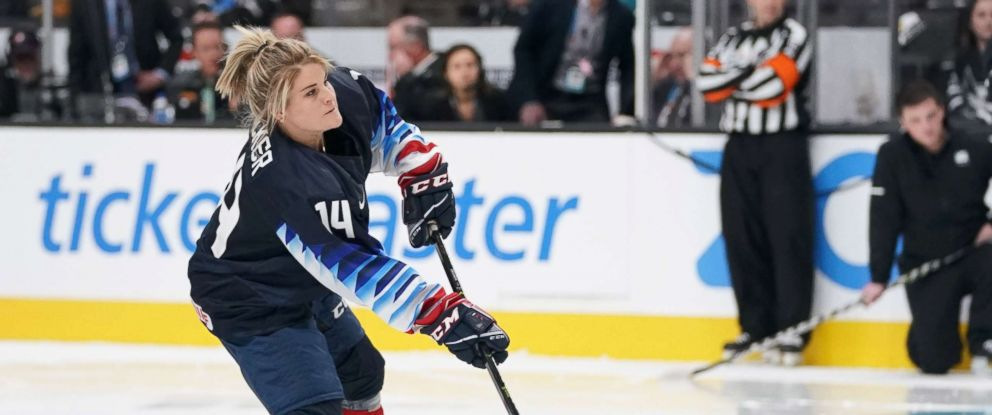 PHOTO: USA womens ice hockey player Brianna Decker in the premier passer competition in the 2019 NHL All Star Game skills competition at SAP Center, Jan 25, 2019, in San Jose, Calif.