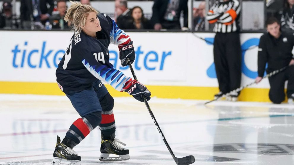 USA women's ice hockey player Brianna Decker in the premier passer competition in the 2019 NHL All Star Game skills competition at SAP Center, Jan 25, 2019, in San Jose, Calif.