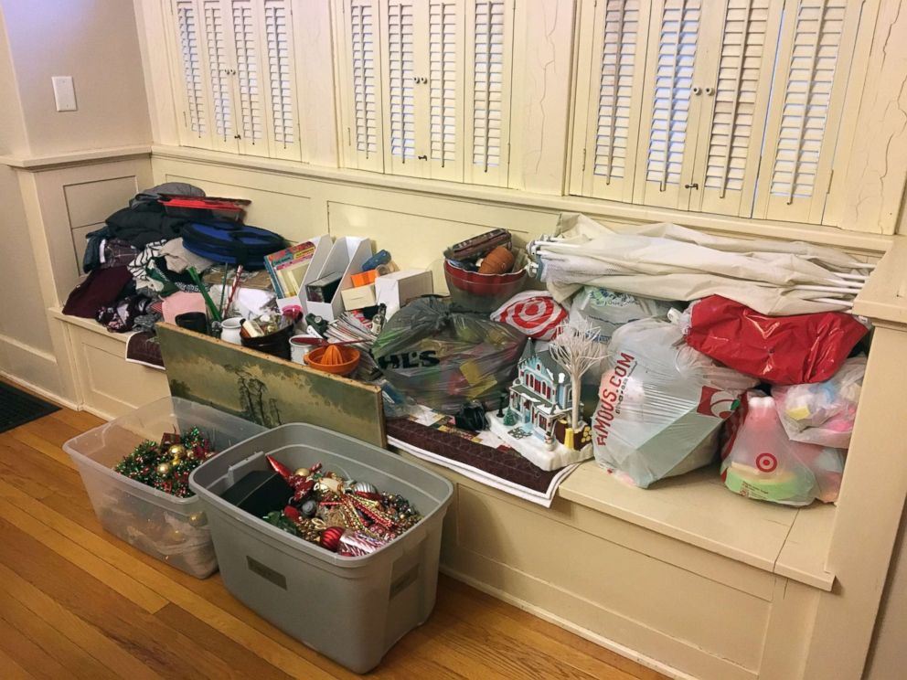 Lynne Hilton's collection of belongings to donate at the end of the month.