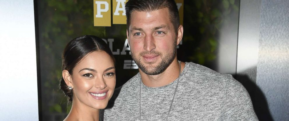 PHOTO: Miss Universe 2017 Demi-Leigh Nel-Peters and Tim Tebow of ESPN attend the Party At The Playoff at The GlassHouse, Jan. 5, 2019, in San Jose, Calif.