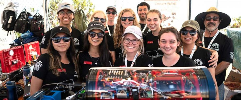 PHOTO: The all-women Desert WAVE team from Arizona State University won third place in an international robotics competition.