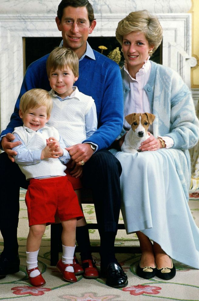 PHOTO: Prince Charles, Prince of Wales and Diana, Princess of Wales at home in Kensington Palace with their sons Prince William and Prince Harry.