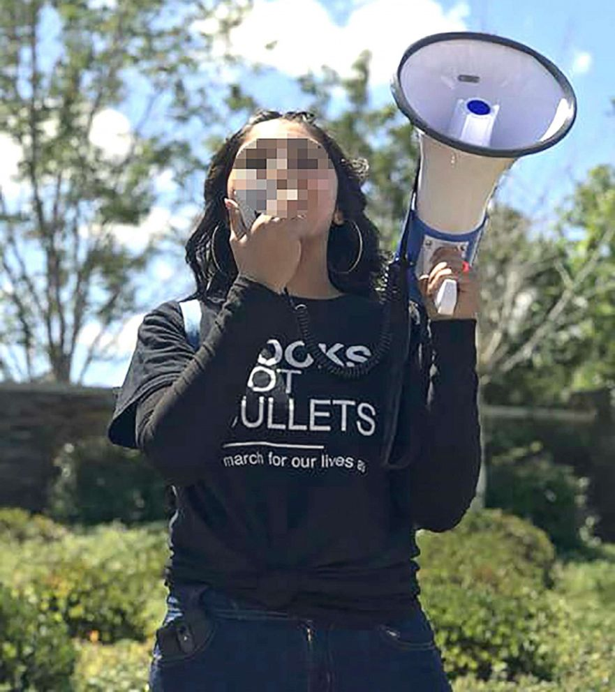 PHOTO: Diana, 18, of California, holds a megaphone given to her by James Tilton as a graduation gift.