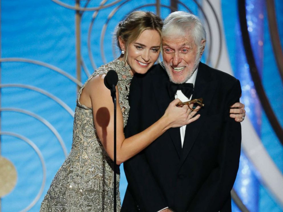 PHOTO: Presenters Emily Blunt and Dick Van Dyke speak onstage during the 76th annual Golden Globe awards at the Beverly Hilton Hotel, Jan. 6, 2019 in Beverly Hills, Calif.
