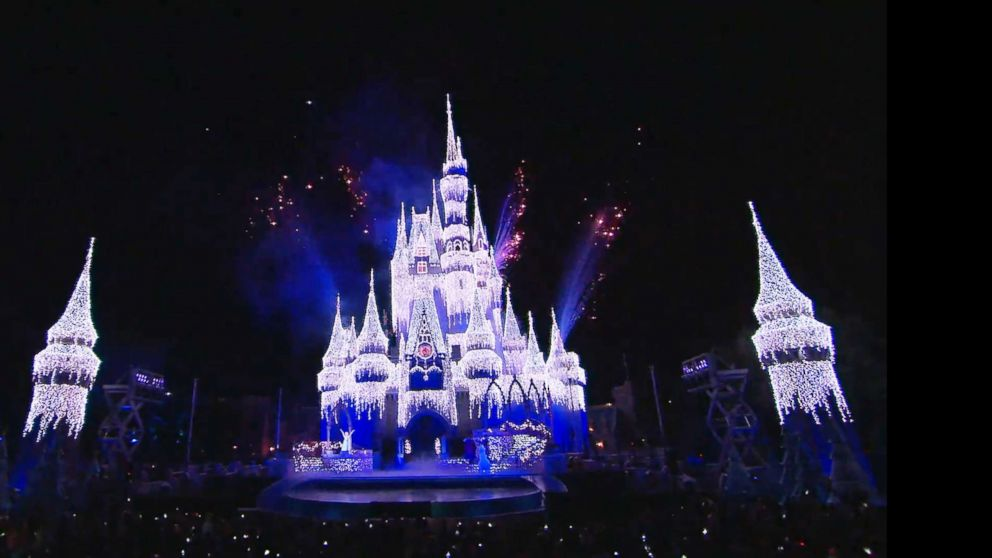 PHOTO: Cinderella Castle at Walt Disney World is lit up for the holidays.