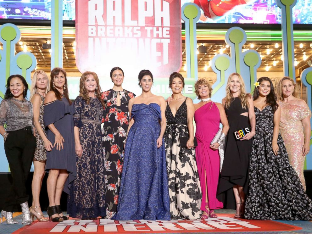 PHOTO: Irene Bedard, Kate Higgins, Jennifer Hale, Jodi Benson, Mandy Moore, Sarah Silverman, Ming-Na Wen, Paige OHara, Linda Larkin, Aulii Cravalho and Pamela Ribon attend the premiere of Ralph Breaks the Internet on Nov. 5, 2018 in Hollywood, Calif.