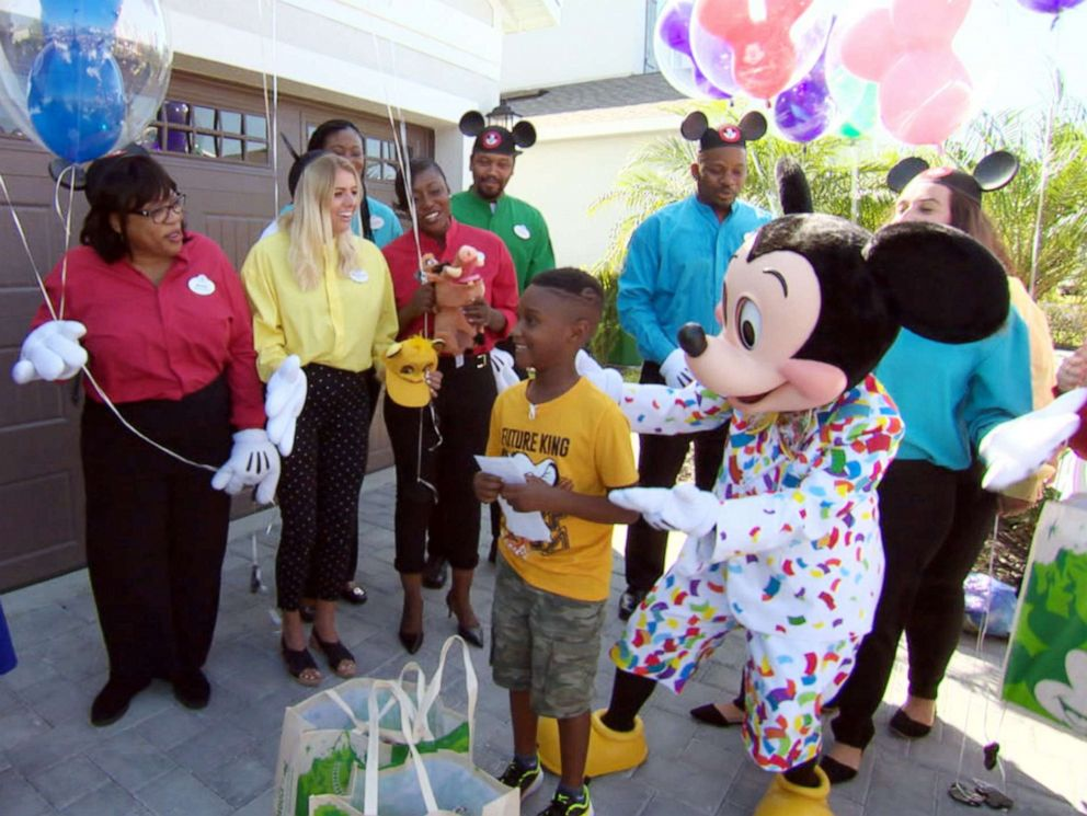 PHOTO: Jermaine Bell is surprised with a Disney vacation on Good Morning America on his birthday after he had helped feed about 100 Hurricane Dorian evacuees in South Carolina.