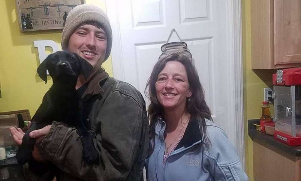 PHOTO: Nick Abbott, 31, of Maine, is seen in a recent photo with his mother, Richelle Abbott and dog, Emerson. Both Nick Abbott and Emerson are deaf.