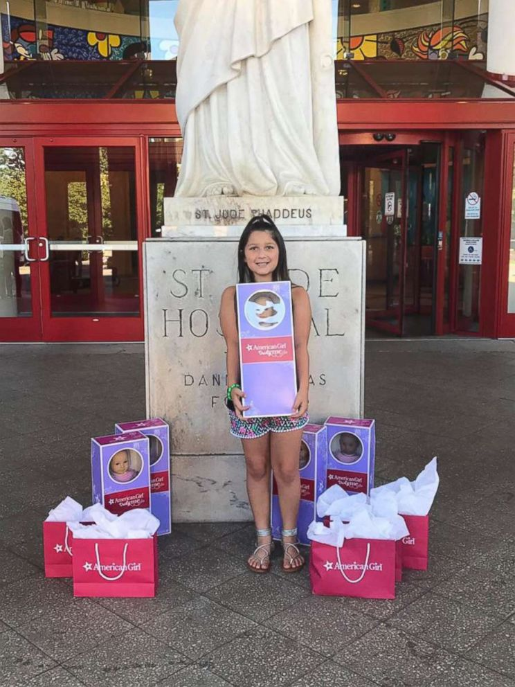 PHOTO: Bella Fricker, 11, of Georgia, runs her own non profit to raise money for dolls to give to children who are fighting cancer.