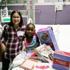 Bella Fricker, 11, is seen in 2017 with Nevaeh Williams, 10, who is currently in remission after fighting a rare cancer called desmoplastic small round cell tumor, or DSRCT.