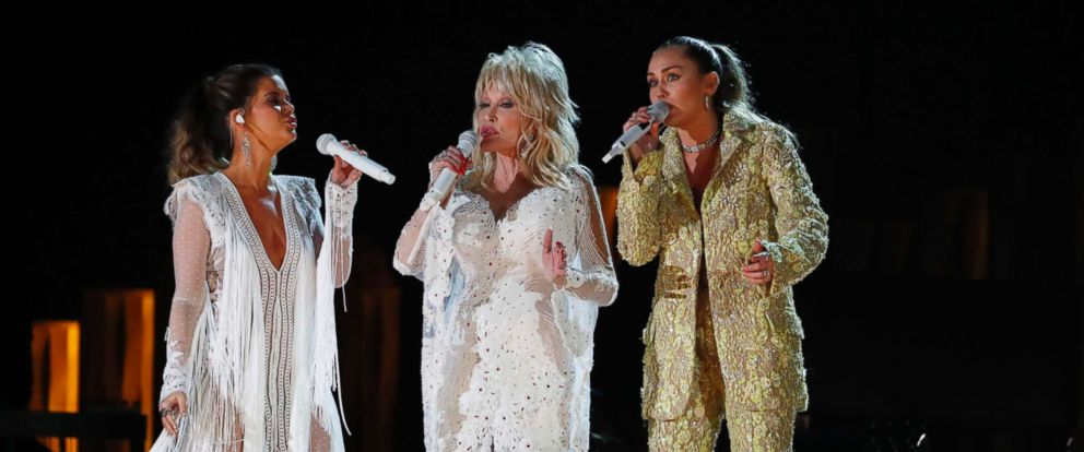 PHOTO: Maren Morris, Dolly Parton and Miley Cyrus perform at the 61st Grammy Awards, Feb. 10, 2019.