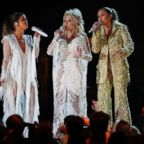 Maren Morris, Dolly Parton and Miley Cyrus perform at the 61st Grammy Awards, Feb. 10, 2019.