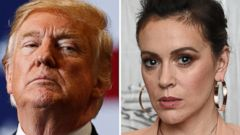 PHOTO: President Donald Trump speaks in Las Vegas on Sept. 20, 2018 and Alyssa Milano appears at an event in New York, Aug. 7, 2018.