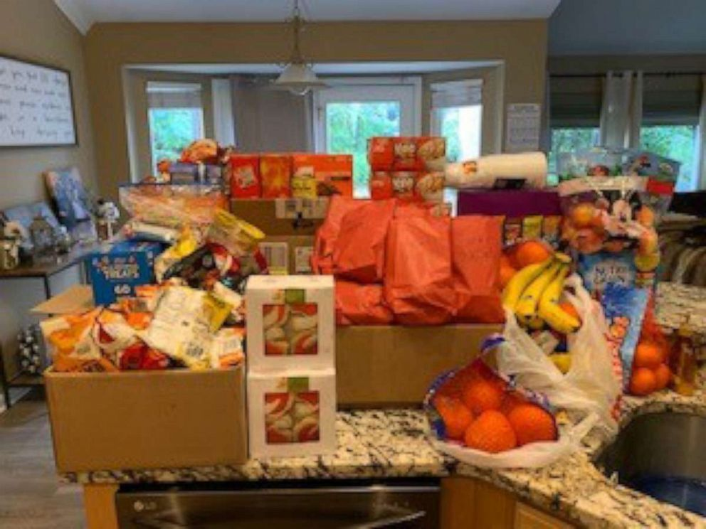 PHOTO: Food donated for the Hughes High School football team is pictured in Dana Gendreaus home in Cincinnati, Ohio.