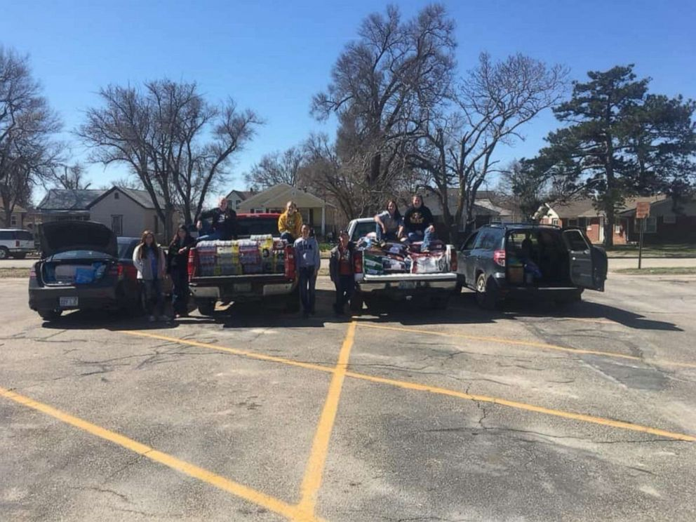 PHOTO: Donations to flood victims from Sigma Alpha at Fort Hays State University are pictured here.