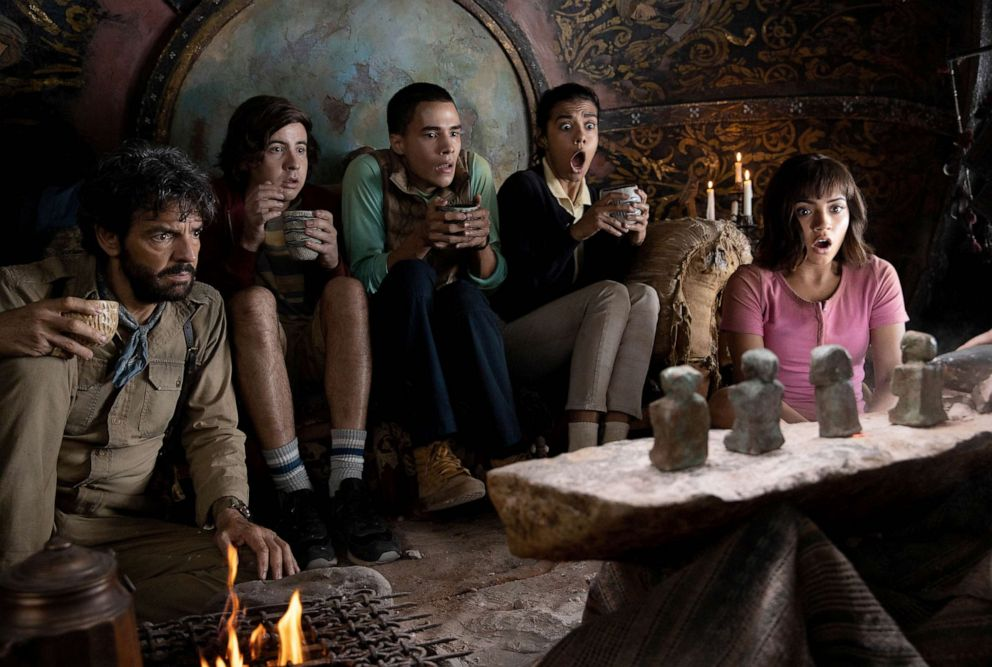 PHOTO: Eugenio Derbez, Nicholas Coombe, Jeffrey Wahlberg, Madeleine Madden and Isabela Moner star in Paramount Pictures 2019 film, Dora and the Lost City of Gold.