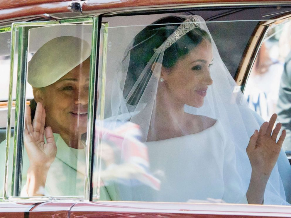 PHOTO: Doria Ragland and Meghan Markle at Windsor Castle ahead of her wedding to Prince Harry on May 19, 2018 in Windsor, England.