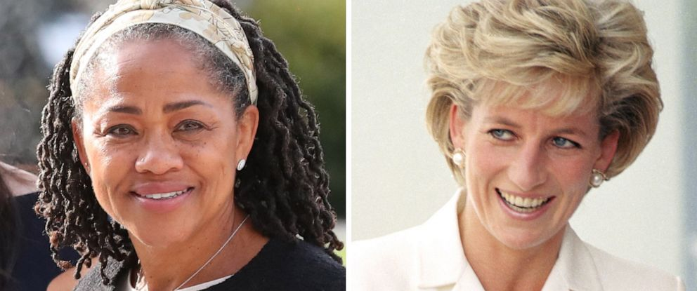 PHOTO: Doria Ragland is pictured in Berkshire, England in 2018 and Princess Diana visits Sydney in 2007.