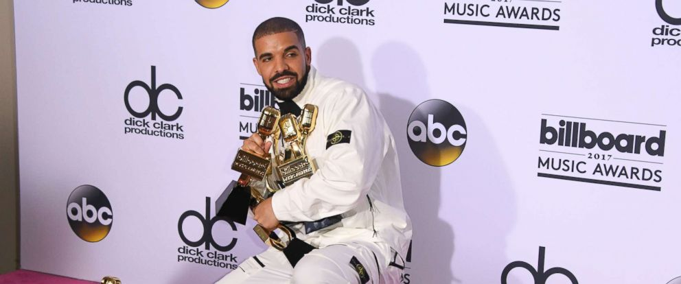 PHOTO: Rapper Drake poses in the press room with his awards during the 2017 Billboard Music Awards at the T-Mobile Arena, May 21, 2017, in Las Vegas.