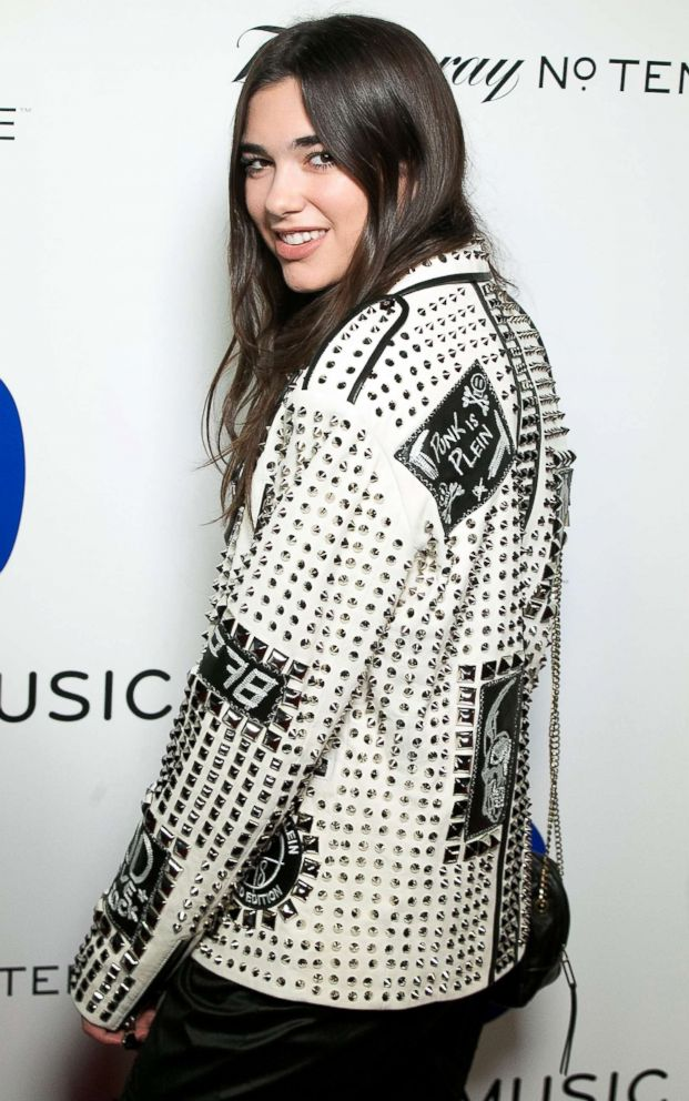 PHOTO: Dua Lipa arrives for the 58th annual Grammy Awards at Milk Studios, Feb. 15, 2016, in Los Angeles.