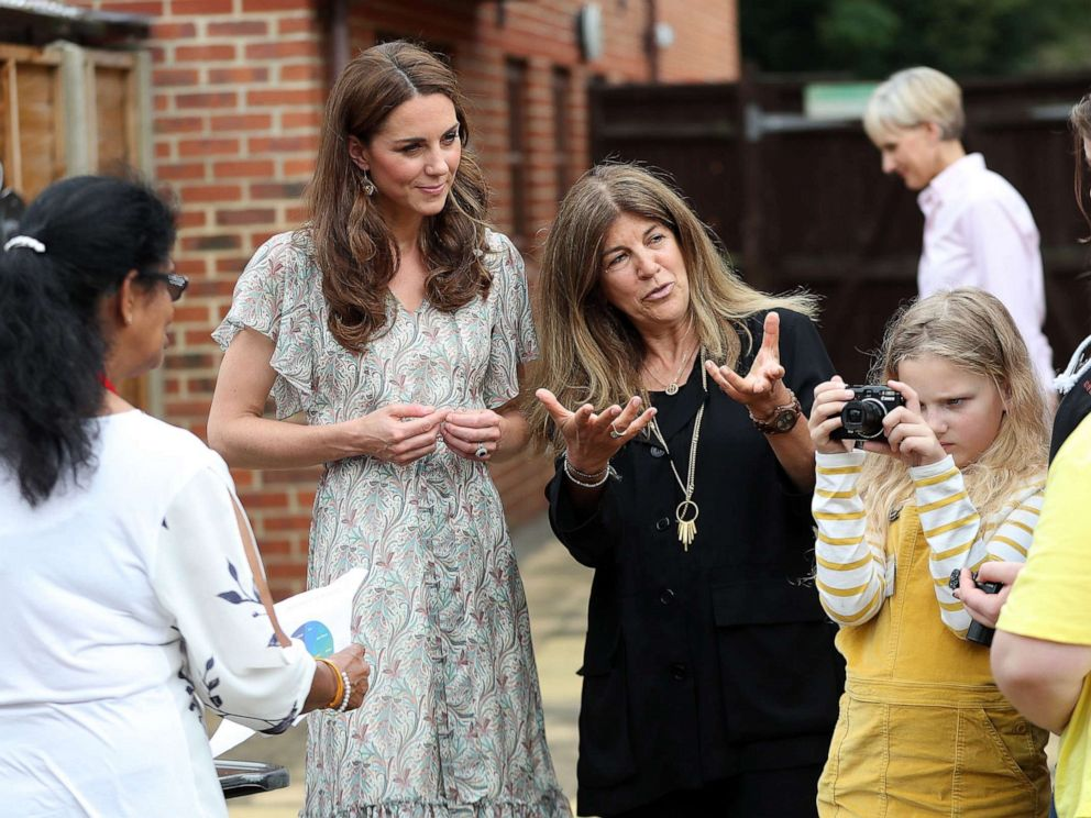 PHOTO: Catherine, Duchess of Cambridge and photographer Jillian Edelstein join a photography workshop for Action for Children, run by the Royal Photographic Society at Warren Park on June 25, 2019, in Kingston, England.