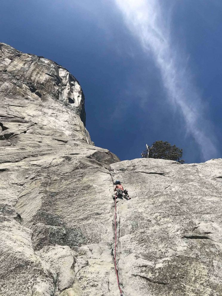 PHOTO: Selah Schneiter, 10, successfully climbs The Nose of El Capitan at Yosemite National Park with her dad Mike Schneiter and family friend Mark Regier.