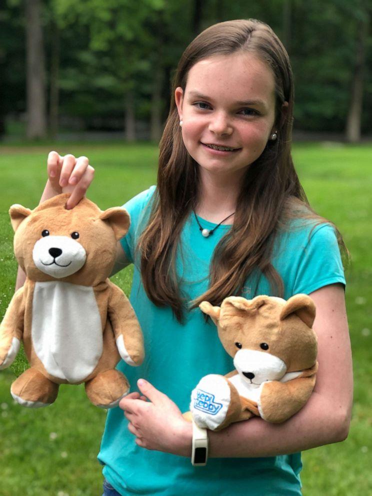 PHOTO: 12-year-old Ella Casano holds Medi Teddy invention.