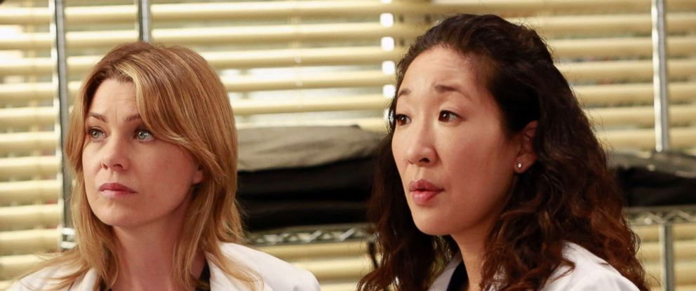 """PHOTO: Ellen Pompeo and Sandra Oh in a scene from """"Greys Anatomy."""""""