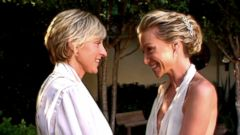 """PHOTO: Ellen DeGeneres and Portia de Rossi are pictured in an image made from a video posted to YouTube on Aug. 16, 2018 with the title, """"Revisit Ellen & Portias Wedding Day on Their 10th Anniversary."""""""