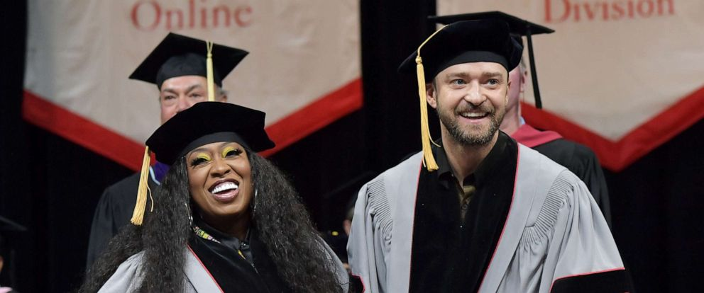 PHOTO: Missy Elliott and Justin Timberlake attend the Berklee College of Music 2019 Commencement ceremony, May 11, 2019 in Boston. More than 1,100 students graduated, while Missy Elliott, Justin Timberlake and Alex Lacamoire received honorary degrees.