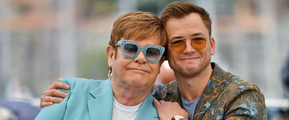 "PHOTO:Singer-songwriter Elton John and actor Taron Egerton pose during a photocall for the film ""Rocketman"" at the 72nd edition of the Cannes Film Festival in Cannes, France, May 16, 2019."