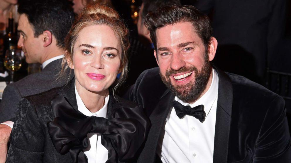 Emily Blunt and John Krasinski wear matching suits to award show