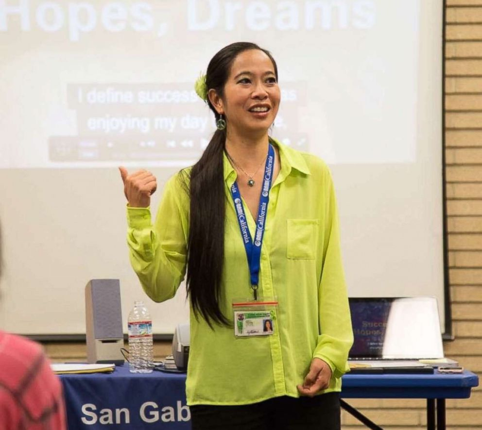 PHOTO: Emily Wu Truong, speaks at a National Alliance on Mental Illness presentation at Temple City Library in Temple City, Calif.