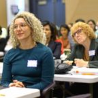 Dozens of women attend an EMILY's List training on how to run for office and run campaigns.