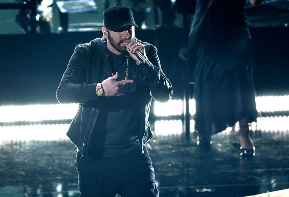 PHOTO: Eminem performs 'Lose Yourself' at the Oscars, Feb. 9, 2020, at the Dolby Theatre in Los Angeles.