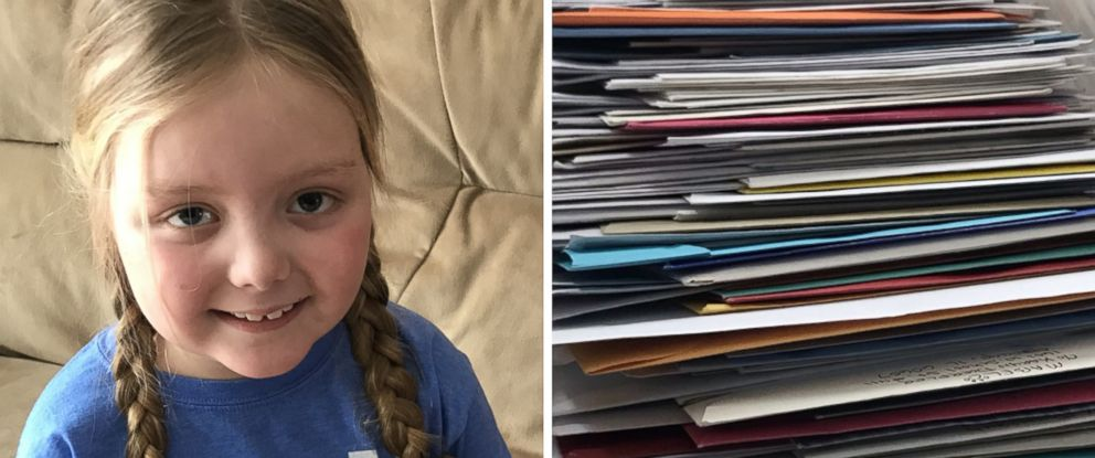 """PHOTO: Emma Mertens, 7, of Wisconsin, was diagnosed with a brain tumor on Jan. 23, 2019. Emma has been receiving letters from """"dogs"""" around the world after her parents friends kicked off a viral campaign."""