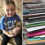 "Emma Mertens, 7, of Wisconsin, was diagnosed with a brain tumor on Jan. 23, 2019. Emma has been receiving letters from ""dogs"" around the world after her parents' friends kicked off a viral campaign."