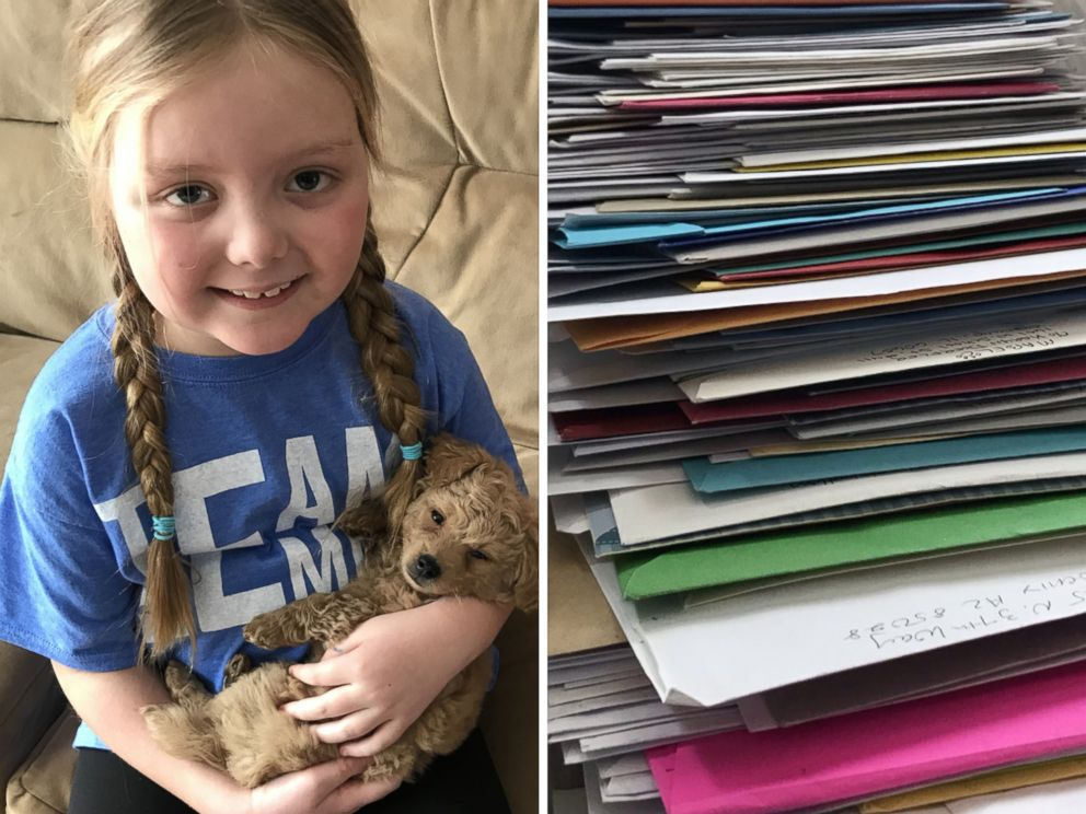 PHOTO: Emma Mertens, 7, of Wisconsin, was diagnosed with a brain tumor on Jan. 23, 2019. Emma has been receiving letters from dogs around the world after her parents friends kicked off a viral campaign.