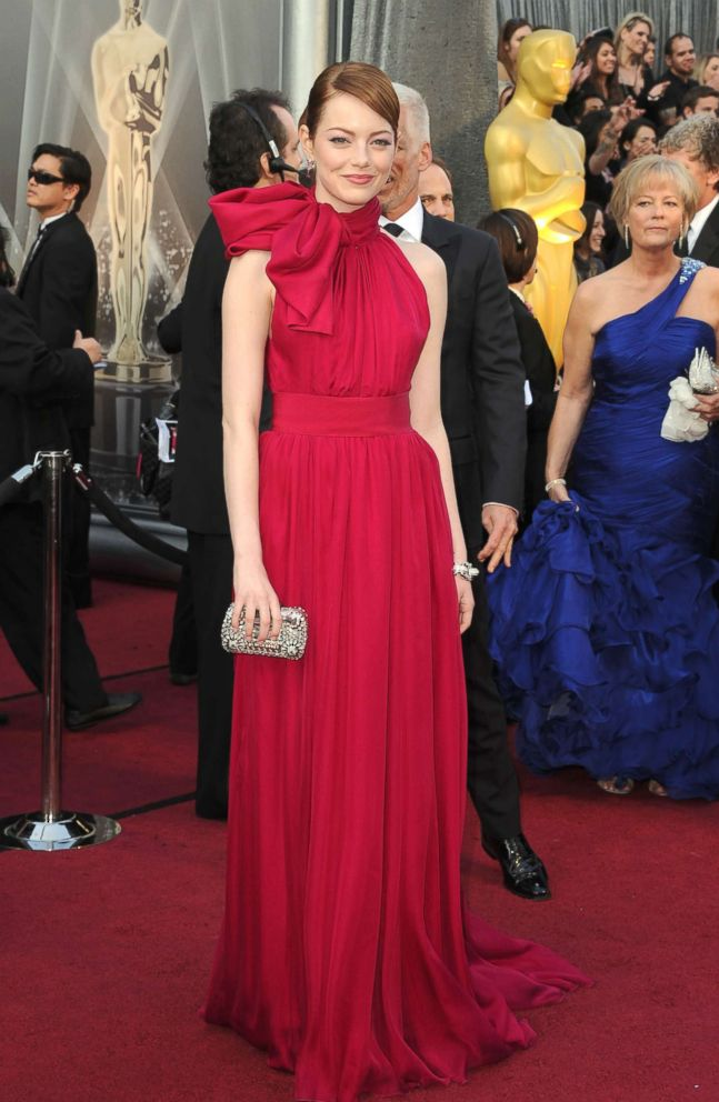 PHOTO: Actress Emma Stone arrives at the 84th Annual Academy Awards held at the Hollywood & Highland Center, Feb. 26, 2012, in Hollywood, Calif.