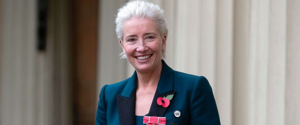PHOTO: English actor Emma Thompson poses with her medal and insignia after she was appointed a Dame Commander of the Order of the British Empire (DBE) at an investiture ceremony at Buckingham Palace in London, Nov. 7, 2018.