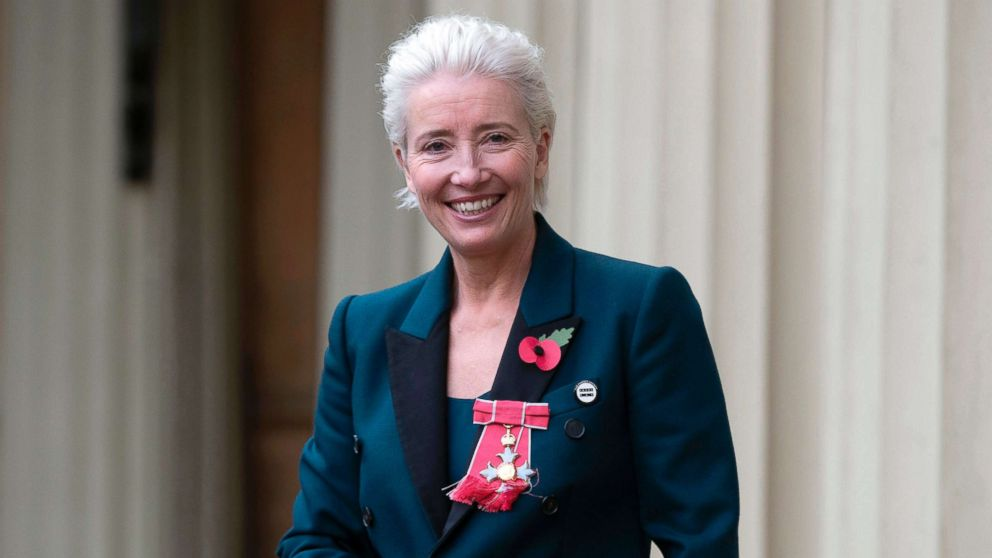 English actor Emma Thompson poses with her medal and insignia after she was appointed a Dame Commander of the Order of the British Empire (DBE) at an investiture ceremony at Buckingham Palace in London, Nov. 7, 2018.