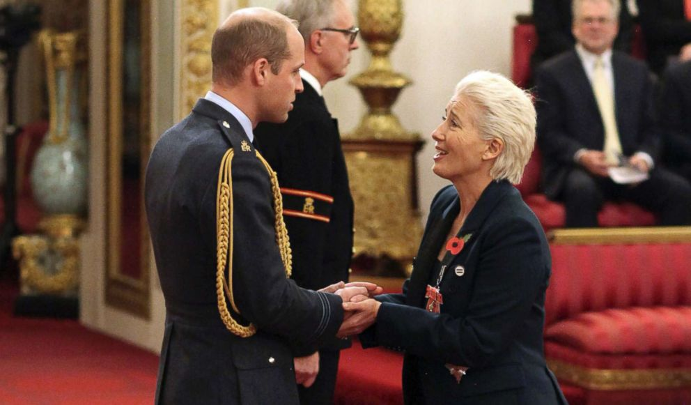 PHOTO: Emma Thompson is made a Dame Commander of the British Empire by Prince William at Buckingham Palace, London, Nov. 7, 2018.