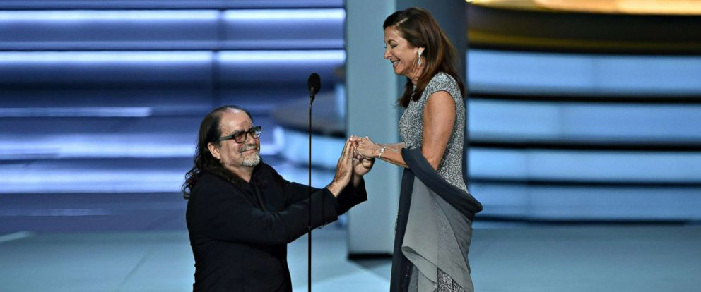 PHOTO: Glenn Weiss, winner of the Outstanding Directing for a Variety Special award for The Oscars, proposes to Jan Svendsen during the 70th Emmy Awards at the Microsoft Theatre in Los Angeles on Sept. 17, 2018.