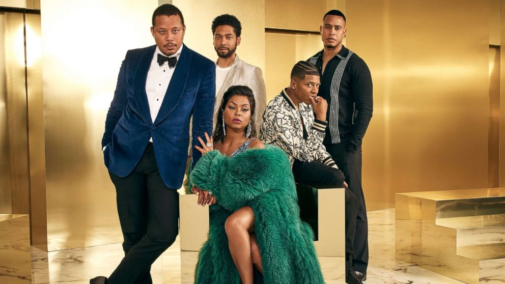 "The cast of ""Empire,"" Terrence Howard, Jussie Smollett, Bryshere Gray, Trai Byers and Taraji P. Henson, pose in a promotional image for the program."