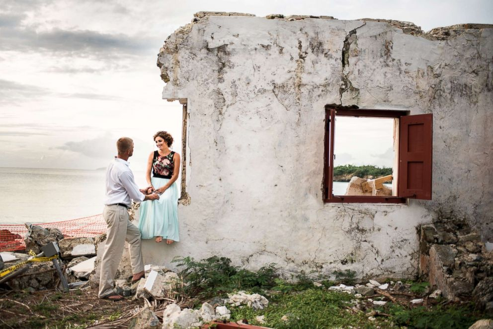 PHOTO: Weeks after Hurricane Irma ravished St. John where they lived, Marty Bruckner and Lauren Saia took their engagement photos amid the devastation.