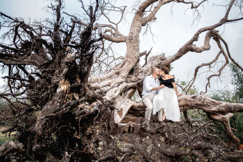 Weeks after Hurricane Irma ravished St. John where they lived, Marty Bruckner and Lauren Saia took their engagement photos amid the devastation.