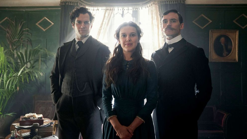 "PHOTO: Henry Cavill, as       Sherlock Holmes, Millie Bobby Brown, as Enola Holmes, and Sam       Claflin, as Mycroft Holmes in a scene from ""Enola       Holmes."""