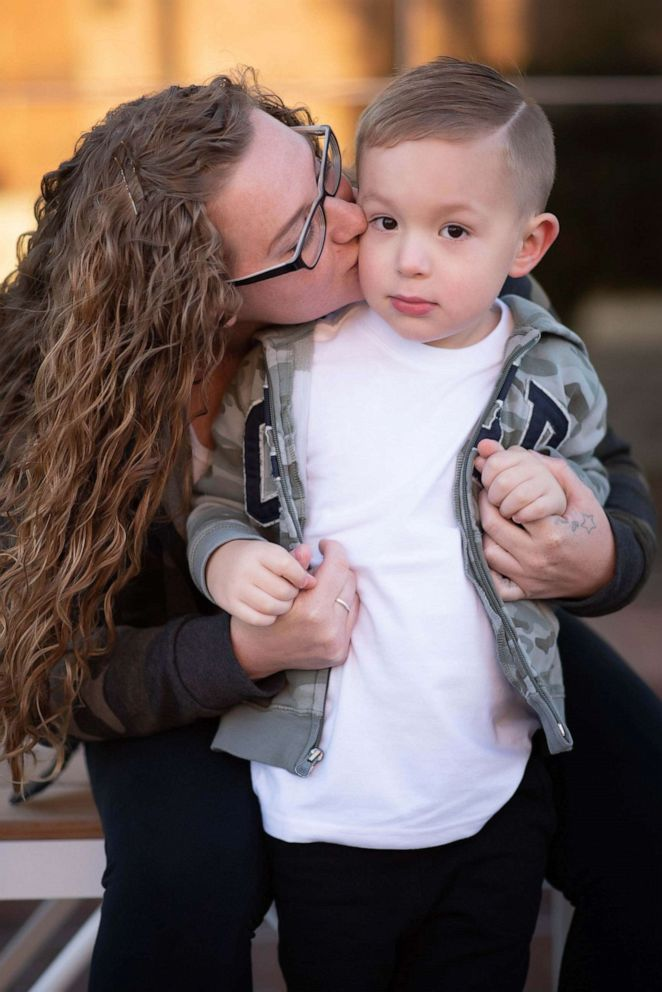 PHOTO: Erika Hurt poses with her 3-year-old son Parker in a photo to celebrate her three-year sobriety anniversary.