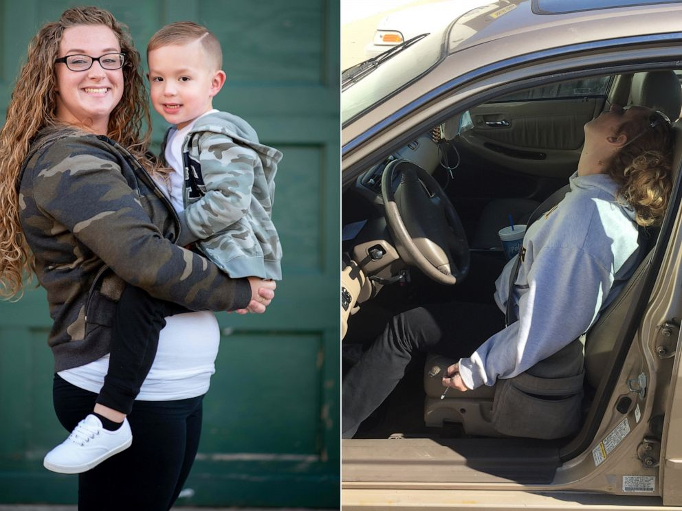 PHOTO: Erika Hurt, 28, is pictured in 2016, right, and posing with her son Parker, left, in 2019 to mark her three-year sobriety.